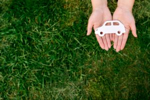 image of a pair of hands holding a plastic silhouette of a car